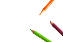 Colored pencils isolated on white. Three colored pencils isolated on white Stock Photos