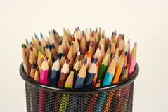 Colored pencils isolated on a white background. A lot of colorfull art crayons tips Royalty Free Stock Image