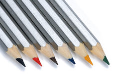 Colored pencils isolated on a white background. Royalty Free Stock Image