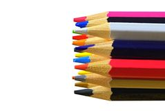 Colored pencils, isolated on a white background. Colored pencils on white background and space for text or image. Back royalty free stock photos