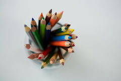 Colored pencils kept in jar Royalty Free Stock Photo