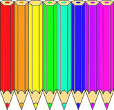 Colored pencils laying in a spectrum illustration Royalty Free Stock Photography