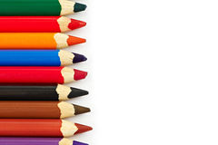 Colored pencils on the left side Stock Images