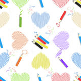 Colored pencils lettering heart seamless pattern Royalty Free Stock Images