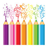 Colored pencils. With colored letters Stock Images
