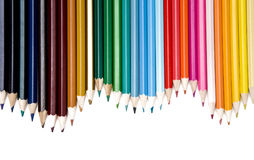 Colored Pencils line. Line set of colored Pencils over white background Stock Image