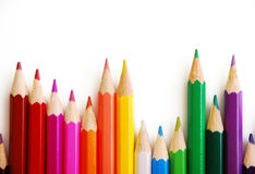Colored pencils lined up Royalty Free Stock Photo