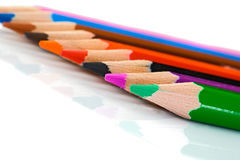 Colored pencils lined up -Shallow DOF Stock Photography