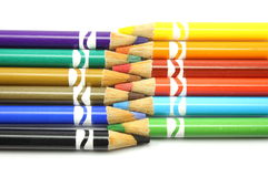 Colored pencils lined up together Stock Photo