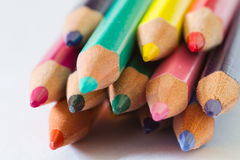 Colored Pencils. Lot of colored Pencils. Macro and little depth of field Stock Photography