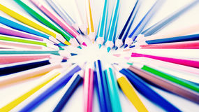 Colored pencils lying circle Royalty Free Stock Images