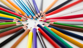 Colored pencils lying circle Royalty Free Stock Photography