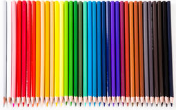 Colored pencils lying in row Royalty Free Stock Image
