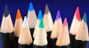 Colored pencils macro Royalty Free Stock Images