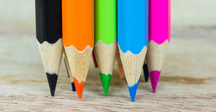 Colored pencils macro Royalty Free Stock Photos