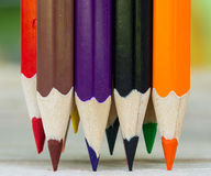 Colored pencils macro Stock Photography