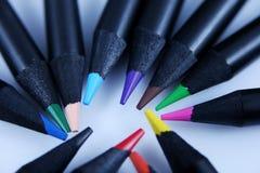 Colored pencils, macro Stock Photos
