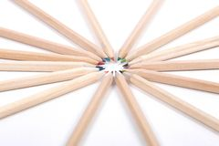 Colored pencils made ​​of natural wood, uncolo Royalty Free Stock Photography