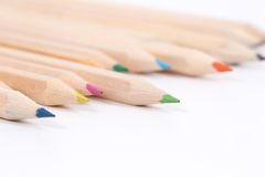 Colored pencils made of natural wood, uncolo Stock Photo