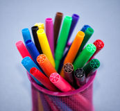 Colored pencils. Many colored pencils in a glass Royalty Free Stock Image