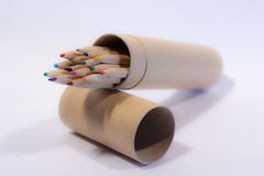 Colored pencils. Many colored pencils in a multicolored design Royalty Free Stock Photography
