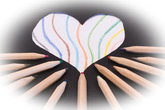 Colored pencils. Many colored pencils in a multicolored design Stock Images