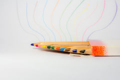 Colored pencils. Many colored pencils in a multicolored design Royalty Free Stock Image
