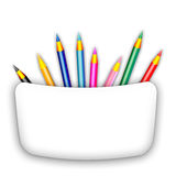 Colored pencils. Many colored pencils on white background Stock Photography