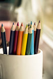 Colored pencils in mug Stock Photography