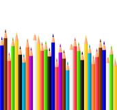 Colored pencils. Multi colored pencils illustration on white background Stock Images