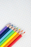 Colored pencils and a notebook Royalty Free Stock Photo