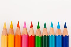 Free Colored Pencils On White Background Stock Image - 17874091