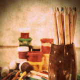 Colored pencils, paint, drawing, brush. And other tools for arts Stock Photography