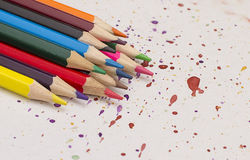 colored pencils on paper royalty free stock image