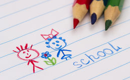 Colored pencils on paper. Children painted. school Stock Photo
