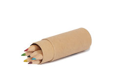 Colored pencils in paper tube Royalty Free Stock Image