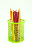 Colored pencils in pencil box Royalty Free Stock Photography