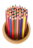 Colored pencils in pencil box isolated Royalty Free Stock Photography