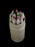 Colored pencils in a pencil case royalty free stock photos