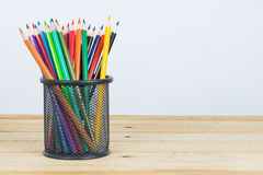 Colored pencils in a pencil case on white background Stock Image