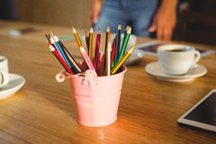 Colored pencils in a pencil holder Royalty Free Stock Photos
