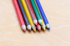 Colored pencils in a pile Royalty Free Stock Photography