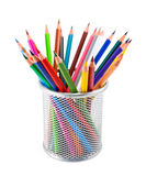 Colored pencils in pot on white background Stock Image