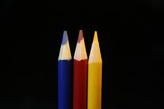 Colored Pencils (primary colors). Colored pencils - the primary colors stock photo