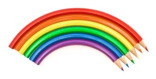 Colored pencils rainbow Stock Photos