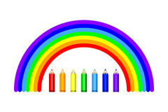 Colored pencils and rainbow. Vector EPS10. Set of colored pencils in rainbow colors. Vector EPS10 Royalty Free Stock Image