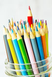 Colored Pencils With Red Sticking Up Close Up Royalty Free Stock Photography