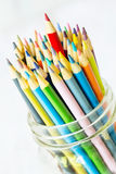 Colored Pencils With Red Sticking Up Higher Royalty Free Stock Photos