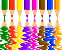 Colored pencils and reflection Stock Photo