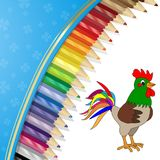Colored pencils and rooster. On white and blue background Stock Images